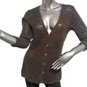 🍁3/$30 DKNY Brown Crochet Cardigan cotton Small